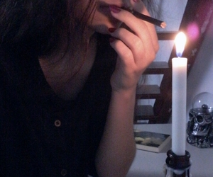 candles, cigarette, and girl image