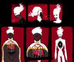horrortale, creepy pictures, and white flames image