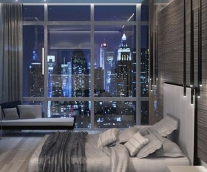 bedroom, bed, and city image
