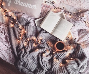 coffee, light, and book image