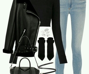black, jeans, and leather image