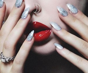 diamond ring, long silver nails, and nose piercing image