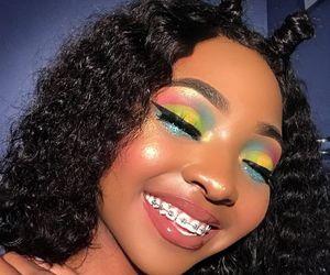 girl, make up, and glitter image