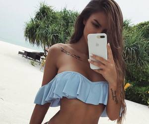 bikini, pretty girls, and summer cosmetics image