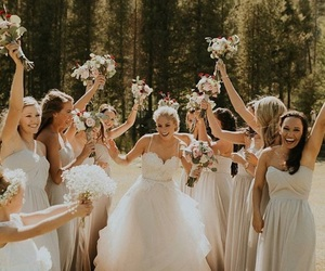 happiness, wedding, and friends image