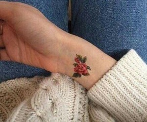 red, rose, and tattoo image