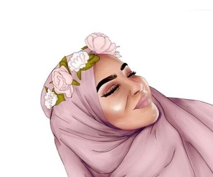 art, flowers, and hijab image