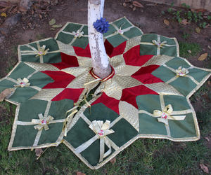 etsy, red tree skirt, and quilted tree skirt image