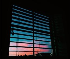 window, sky, and sunset image