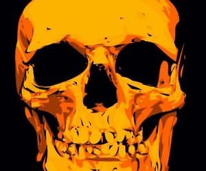 black, orange, and skeleton image