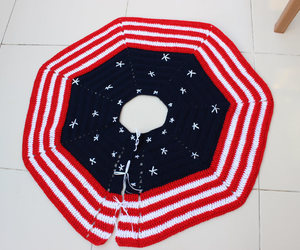 etsy, crochet tree skirt, and red white and blue image