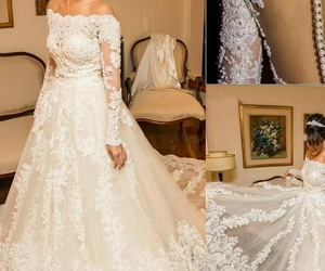 princess gown, princess wedding dress, and modest wedding gowns image