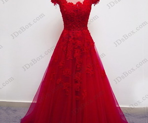 evening dress, red prom dress, and burgundy ball gown image