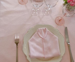 aesthetic, pink, and place setting image