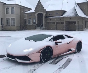 car, snow, and pink image