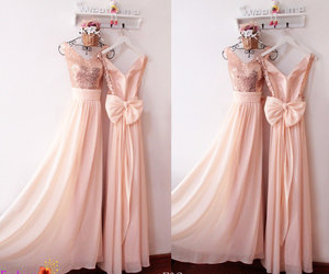 party dress, peach bridesmaid dress, and back bow dress image