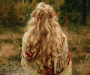 autumn, forest, and long hair image