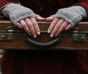 gloves, hands, and suitcase image