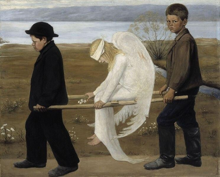 angel, art, and hugo simberg image