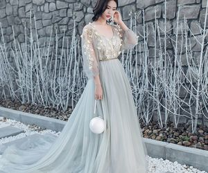 elegant, embroidered, and grey image