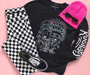 black sunglasses, checkered pants, and neon pink beanie image
