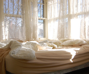 bed, room, and creamy image
