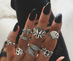 black, bohemian, and nails image