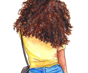 Afro, yellow, and art work image