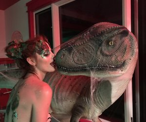 dinosaur, kiss, and mad girl image