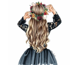 art work, blonde, and flowers crown image