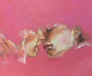 art, pink, and kiss image