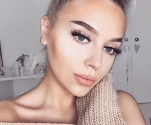 girls, makeup, and brows image