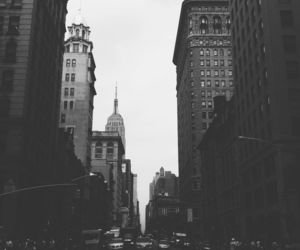 city, black and white, and building image