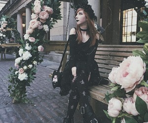 flowers, goth, and gothic image