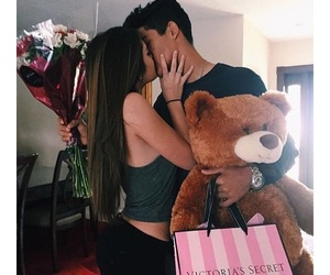 boyfriend, couple, and flowers image