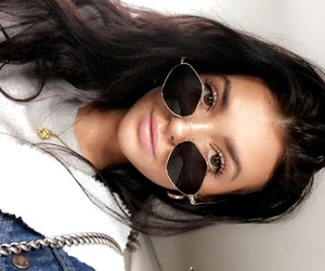 black hair, chain, and glasses image