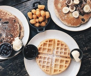 waffles, food, and pancakes image