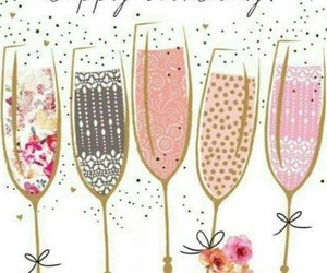 birthday card, champagne, and glasses image