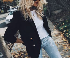 blazer, look, and levis jeans image
