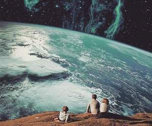 earth, galaxy, and people image
