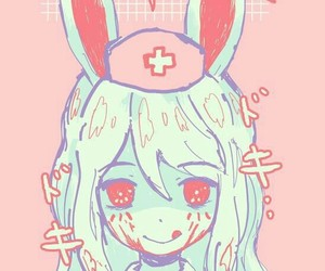 bunny, girl, and pink image