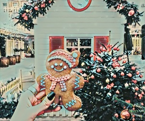 christmas cookies, ginger bread man, and decorations image