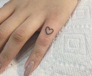 heart, finger tattoo, and heart tattoo image