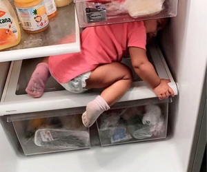 baby, Elle, and refrigerator image