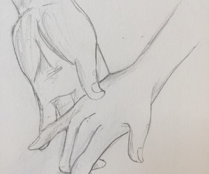 couple, drawing, and hands image