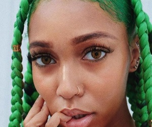 black girl, braids, and green image