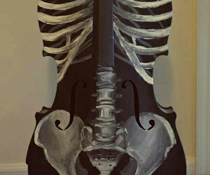 music, skeleton, and guitar image