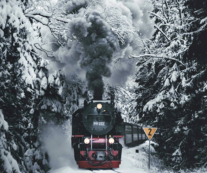 christmas, snowing, and train image