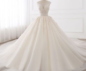 beautiful, bridal gown, and champagne image