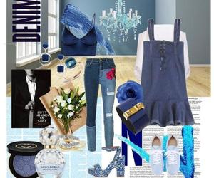 blue, Polyvore, and plus size image